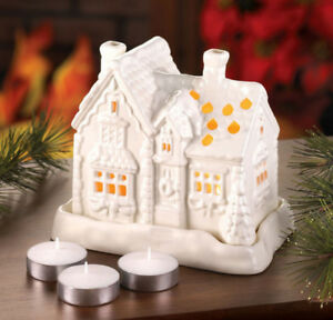 White Porcelain Cottage Tealight Holder Includes Candles NEW