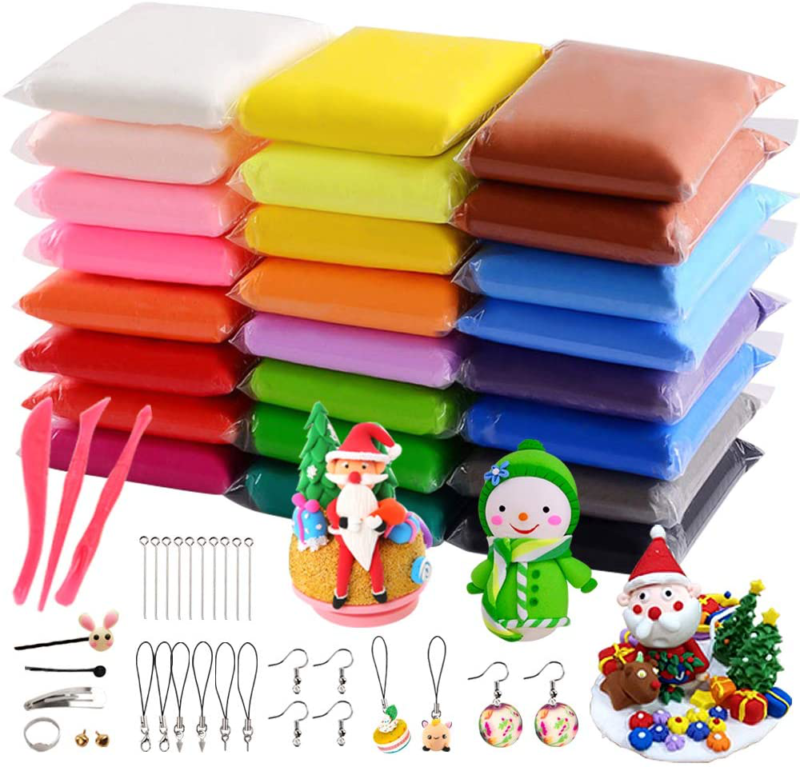 24 Bright Colors Air Dry Clay DIY Kit Ultra Light Clay Magic