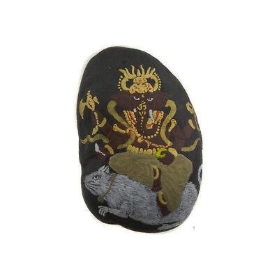 Ganesha Kit & O-Ring Stone with Ganesh Hand Painted Elephant Dieu Hindu 6271