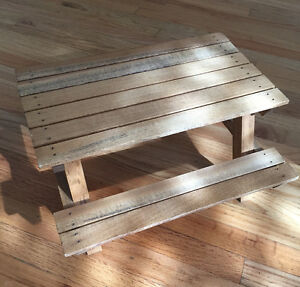Wooden picnic table for stuffys/dolls