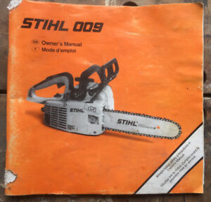 Stihl 009 chainsaw owner's manual