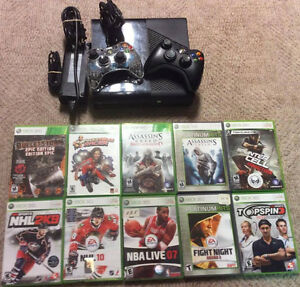 Xbox360 Super Slim With 2 Controllers and 10 Games!
