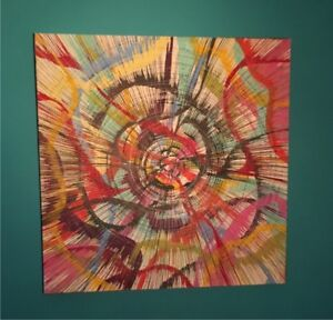 """32"""" x 32"""" Abstract Acrylic Spin Painting on Canvas"""
