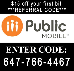 $15 Public Mobile referral code +1 free month + free sim