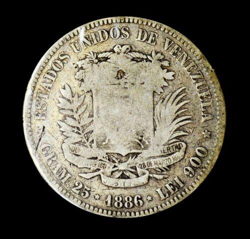 1886 Silver Coin Venezuela Libertador 5 Bolivares Fuerte (1)