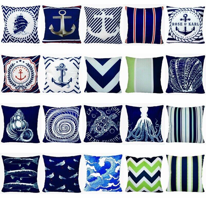 Navy Blue Ocean Premium Accent Soft Throw Pillow Cover