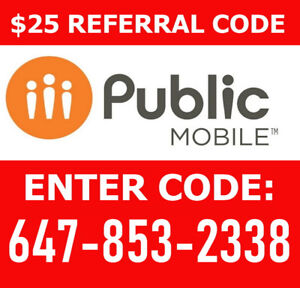 $85 Referral Public Mobile Code: 647-853-2338        (Ref.qda4)