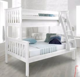 Triple sleeper white solidwood bunk beds Flatpack condition free local
