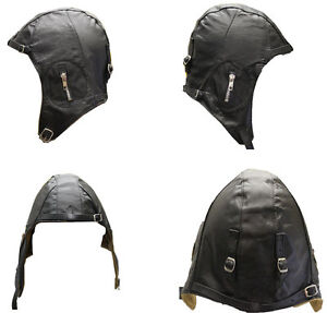 LEATHER FLIGHT PILOT MOTORCYCLE HELMET BLACK MEDIUM