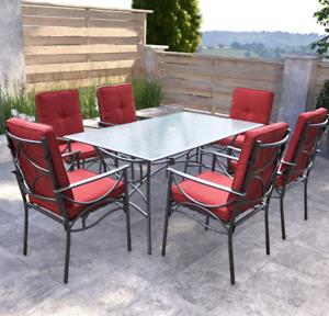 7 pc Outdoor Dining Set With Table Top Umbrella