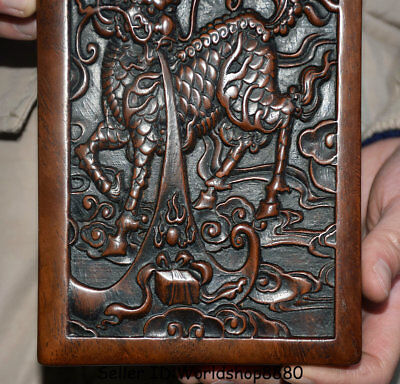 """7.2/"""" Antique Old China Dynasty Huanghuali Wood Kylin Beast Fish inkstone inkslab"""