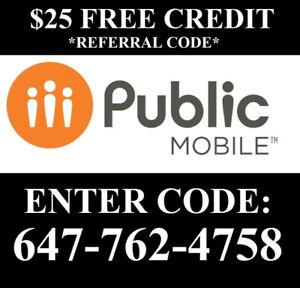 $25 + $60 Referral Public mobile Code: 647-762-4758 & sim plans