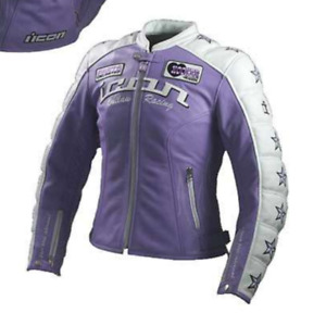 WOMEN'S KITTY EDITION LAVENDER & WHITE LEATHER MOTORCYCLE JACKET