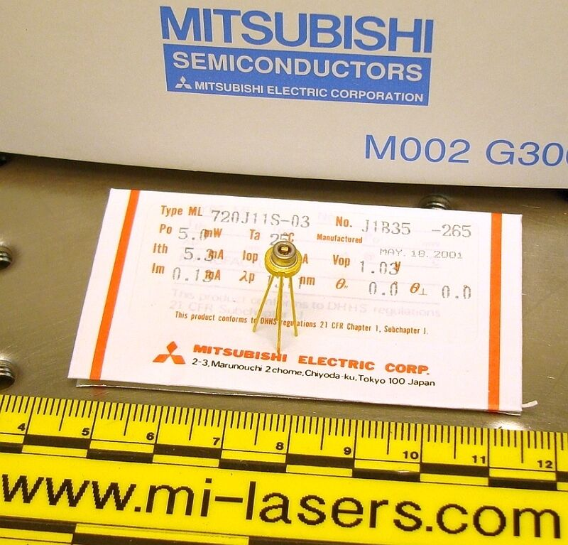 LOT of 5, NEW MITSUBISHI ML720J11S DFB LASER DIODE 1310nm infrared 1.3um, 5mW