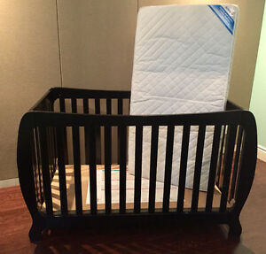 Espresso Wooden Convertible Crib with mattress