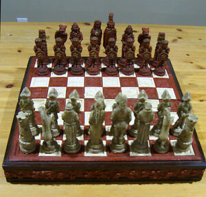Super Deluxe Large Chess Set. Inca themed Vintage. $50. In Erin