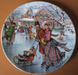 Skating on the Pond - Victorian Christmas Collector Plate, COA