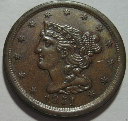 = 1851 AU+ Half Cent, Better Grade, Super EYE Appeal, FREE Shipping