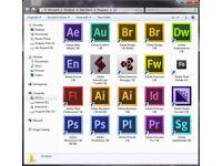 ADOBE PHOTOSHOP, INDESIGN, ILLUSTRATOR CS6,etc... PC or MAC