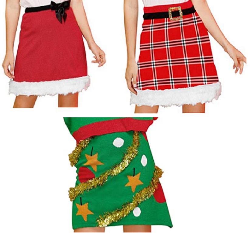 Women's Deluxe Velvet Christmas Santa Tree Holiday Spirit Stylish Fashion Skirt Clothing, Shoes & Accessories