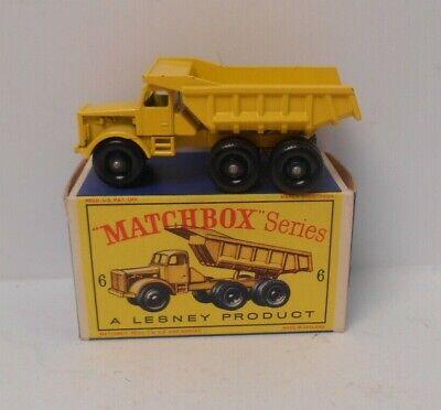 Vintage Lesney Matchbox 6 Euclid Quarry Truck In Original Box (KM)