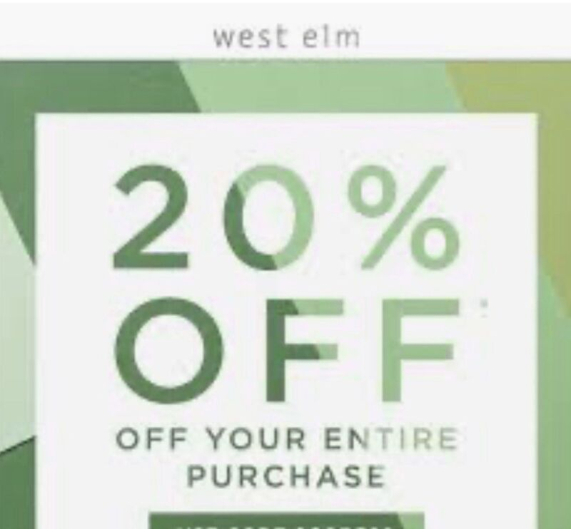 West Elm coupon1 20% entire order(include furnitures)