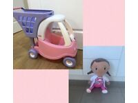 Little Tikes Cozy Coupe Shopping Trolley Toy & Doc McStuffin Cuddly Soft Toy 20inches