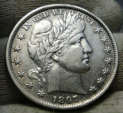 1897 Barber Half Dollar 50 Cents - Nice Coin, Free Shipping  (9403)