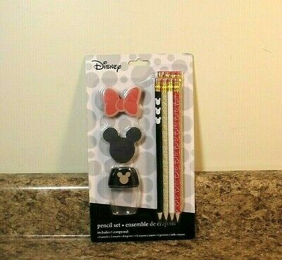 Minnie Mouse Pencils (Disney Mickey Minnie Mouse 8 Pencil Set Erasers Sharpener)