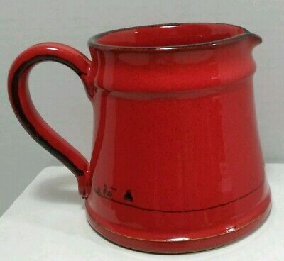 """Vintage Signed Mamma Ro Italian Pottery Red Creamer Pitcher 4.25"""" tall"""