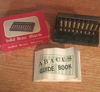Vintage Brass Abacus Mini With Green Marble Solid Base W/ Box and Guide Book
