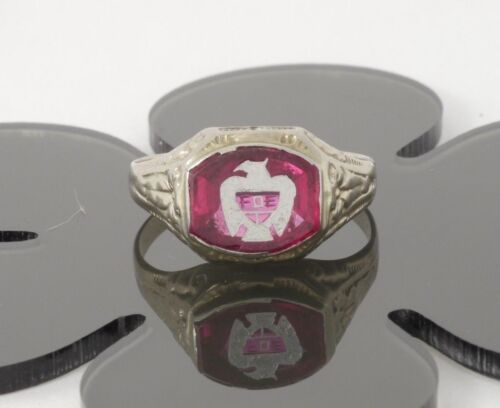 Vintage Mens 10k White Gold Buff Top Ruby Fraternal Order of the Eagles Ring