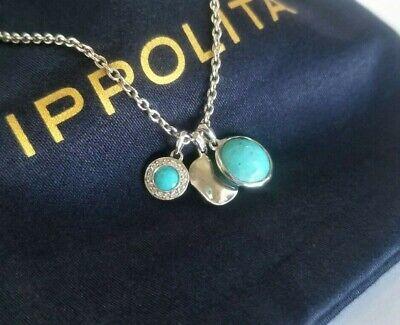 "IPPOLITA - Rock Candy Diamond Turquoise Charm Necklace - 18"" length - Stunning!"