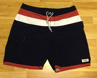 Nautica Navy Red White Stripe Swim Trunks Board Shorts Size 36