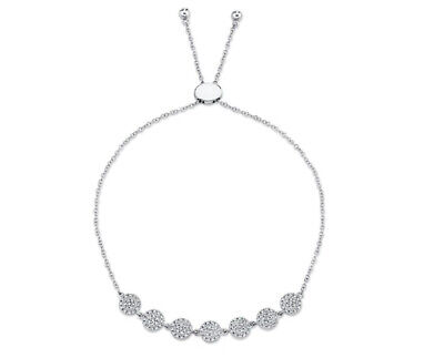14K Oro Blanco Diamante Pavé Círculo Disco Bolo Pulsera Ajustable 0.36CT Round
