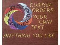 New hand made embroidered cushions with text or picture on it, high quality materials.