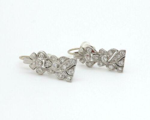 Antique Platinum Diamond Art Deco Dangle Earrings, 0.50 cttw, 5.9g