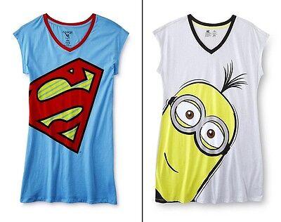 Plus Size 1X, 2X Womens Nightgown Pajamas Supergirl Minion Sleep Shirt XL 22 NEW