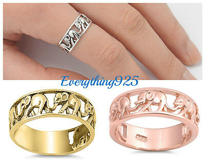 Elephant Design Band (Sterling Silver 925 PRETTY WALKING ELEPHANT DESIGN BAND RING 7MM SIZES)