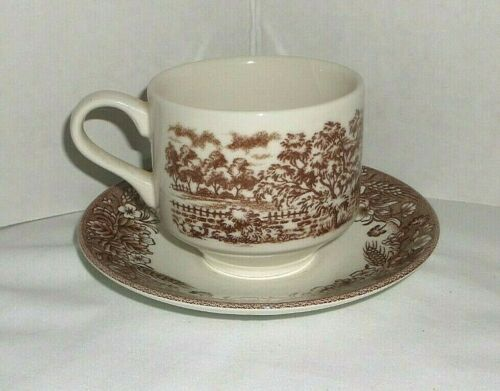 Churchill Currier & Ives, Harvest Heritage Mint cup and saucer- Brown