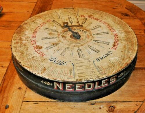 Antique Vintage Boye Needle Co Bobbins Needles Shuttles Tin 1929