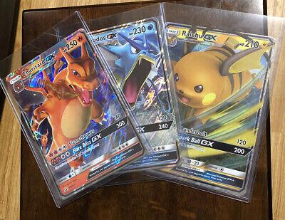 Pokemon SM Hidden Fates JUMBO Charizard, Gyarados & Raichu GX SM211 SM212 SM213