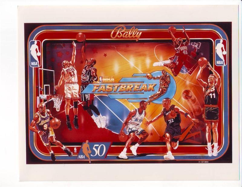 NBA FastBreak Basketball Pinball Photo Bally Original NOS Game Backglass 1997