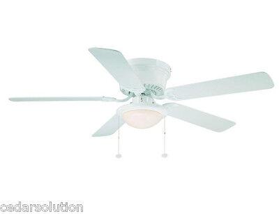 Hampton Bay Hugger 52 in. Immaculate / Oak Ceiling Fan with Light Kit 550073 - Used