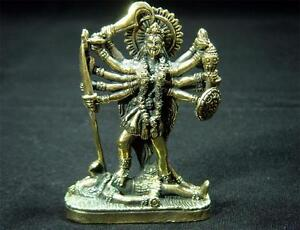 Hindu-devi-Kali-dark-mother-goddess-brass-figurine-statue-new-1-75-X-2-5-C-46