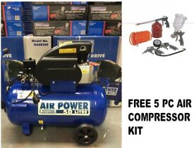 Sealey NA5020E 50L Air Compressor Direct Drive 2HP + 5pc Air Kit SA33G