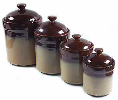 Sango Stoneware NOVA Brown 4 Piece Canister Set 2234025 on Rummage