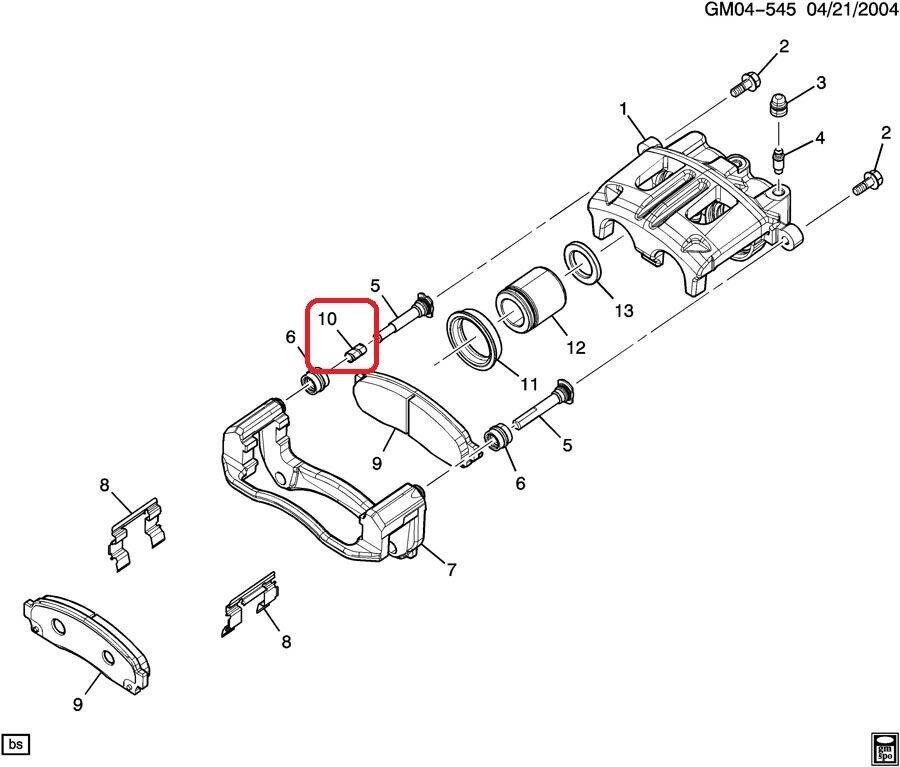 Disc Brake Caliper Guide Pin Bushing Front GM OEM 15824369