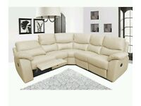 BRAND NEW == LARGE CORNER RECLINER SOFA IN FAUX LEATHER BLCK OR BROWN-SAME DAY DELIVERY+14 DAYS MBG*