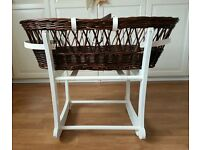 John Lewis Brown Wicker Moses Basket and White Stand, possible upcycle project
